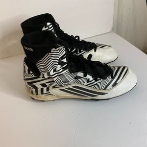 Adidas Mens Sz 9.5 High Top Cleats Black White Geo